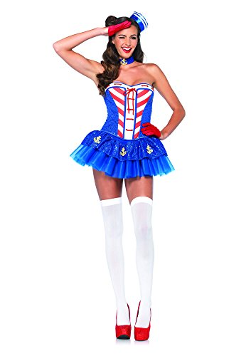 Leg Avenue Women's 4 Piece Starboard Sweetie Sailor Costume, Blue, Medium