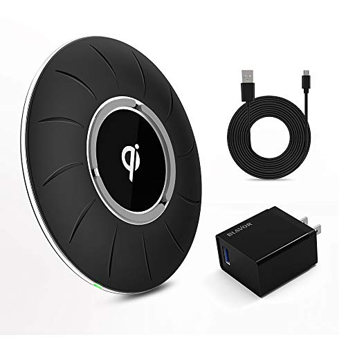 BLAVOR Qi Certified Wireless Charger, Fast Wireless Charging Pad 10W/7.5W/5W Compatible with iPhone X/8/8plus XS/XS Max/XR All Qi-Enabled Devices(QC 3.0 AC Adapter Included) (Wireless Charger-Black)