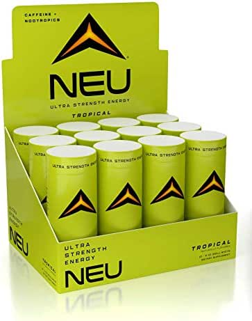 NEU Extra Strength Nootropic Energy Shots, Energy Drink: Brain Booster Focus Supplement, Coffee Alternative Nutritional Drink + Keto Energy Pre Workout with Zero Sugar - Tropical Punch 2oz (12 shots)