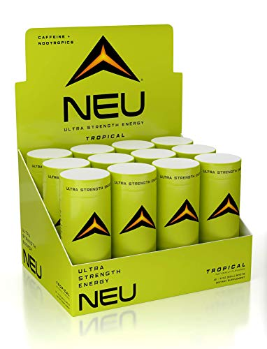 NEU Extra Strength Nootropic Energy Shots, Energy Drink Brain Booster Focus Supplement, Coffee Alternative Nutritional Drink Pre Workout with Zero Sugar Zero Calories – Tropical 2oz 12 pack