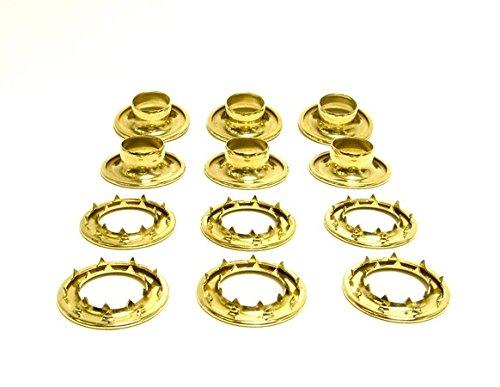 Grommets, #6 Brass, Heavy Duty Rolled Rim Spur, 3/4'' Inch Hole, 6 Pc. Set
