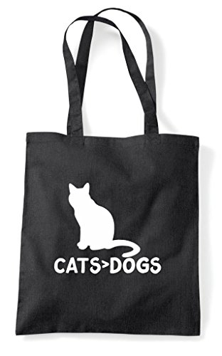 Tote Greater Cats Shopper Funny Cute Bag Dogs Than Animal Themed Black Are 55wqnRx8