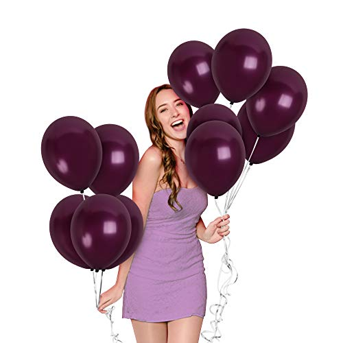 Plum And Silver Wedding (Metallic Dark Plum Purple Balloons 72 Pack 12 Inch Latex Wedding Engagement Bridal Baby Shower Decorations Bachelorette Graduation Party)