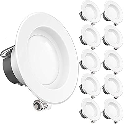 SUNCO 10 PACK - 11Watt 4-inch ENERGY STAR UL-listed Dimmable LED Downlight Retrofit Recessed Lighting Fixture - 3000K Warm White LED Ceiling Light --650LM, CRI 90