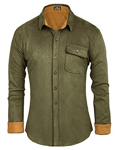 Suede Shirt Jacket (Men's Stylish & Slim Fit Long Sleeve Polyester Suede Shirt Size L)
