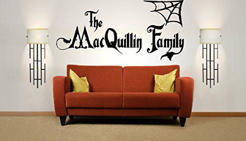 Personalized Halloween Family Name, Addams Family, Vinyl Wall Art Sticker. Mural, Decal. Home, Wall Decor. Living Room, Bedroom, Hallway, Dining Room.]()