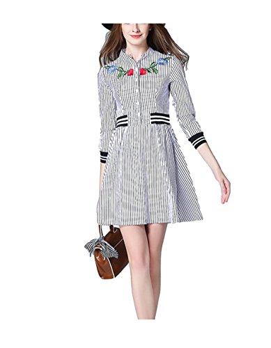 Hülsen Kleid Streifen Baumwollbeiläufiger 4 Kleider Ansatz Kurzes Kurze Frauen 3 Hemd Gesticktes der Weiß Runder Oudan YA7vPxnY