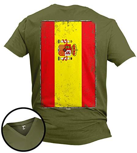 (Distressed Spain Flag - Spanish Latino Unisex V-Neck T-Shirt (Olive - Back Print, X-Large))