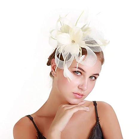 Amazon.com  DeemoShop Loops Hats Fascinator for Women Tulle Flower Hair  Fascinators Red Elegant Women Headwear Wedding Hair Accessories  Kitchen    Dining 26d9a7cdbe7