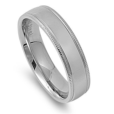 6MM HIGH Polished Ribbed Edge Stainless Steel Unisex Men Wedding Band Ring 6-14 (4mm Ribbed Wedding Band Ring)