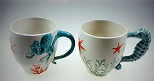 TerraRoad Set of 2 Coffee Mugs 16 OZ-- Handmade Creative Art 3-D Embossed Octopus & Seahorse (1)