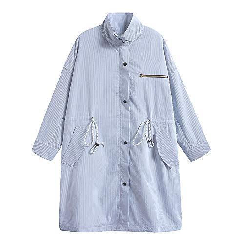 URLAZH Womens Embroidered Striped Lightweight Drawstring Tie Windbreaker Trench Coat Rain Jacket Parka Blue