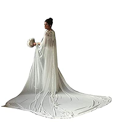 Cibelle Women's Lace Appliques 3/4 Meters Long Chiffon Wedding Cloak Bridal Cape