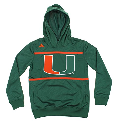 NCAA Big Boys Youth / Little Boys Kids Amped Player Performance Pullover Hoodie, Various Teams (Miami Hurricanes, Large (14-16)) (Pullover Youth Fleece Miami)