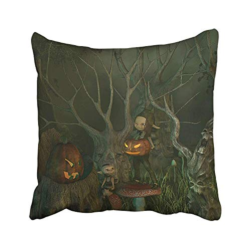 Ashasds Little Goblins Decorating Their Spooky Forest of Twisted Dead Trees with Pumpkin Lanterns for Halloween 3D Throw Pillow Covers for Home Indoor Comfortable Cushion Standard Size 16x16 in ()
