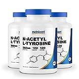 Nutricost N-Acetyl L-Tyrosine (NALT) 350mg, 120 Capsules (3 Bottles) - Gluten Free, Non-GMO
