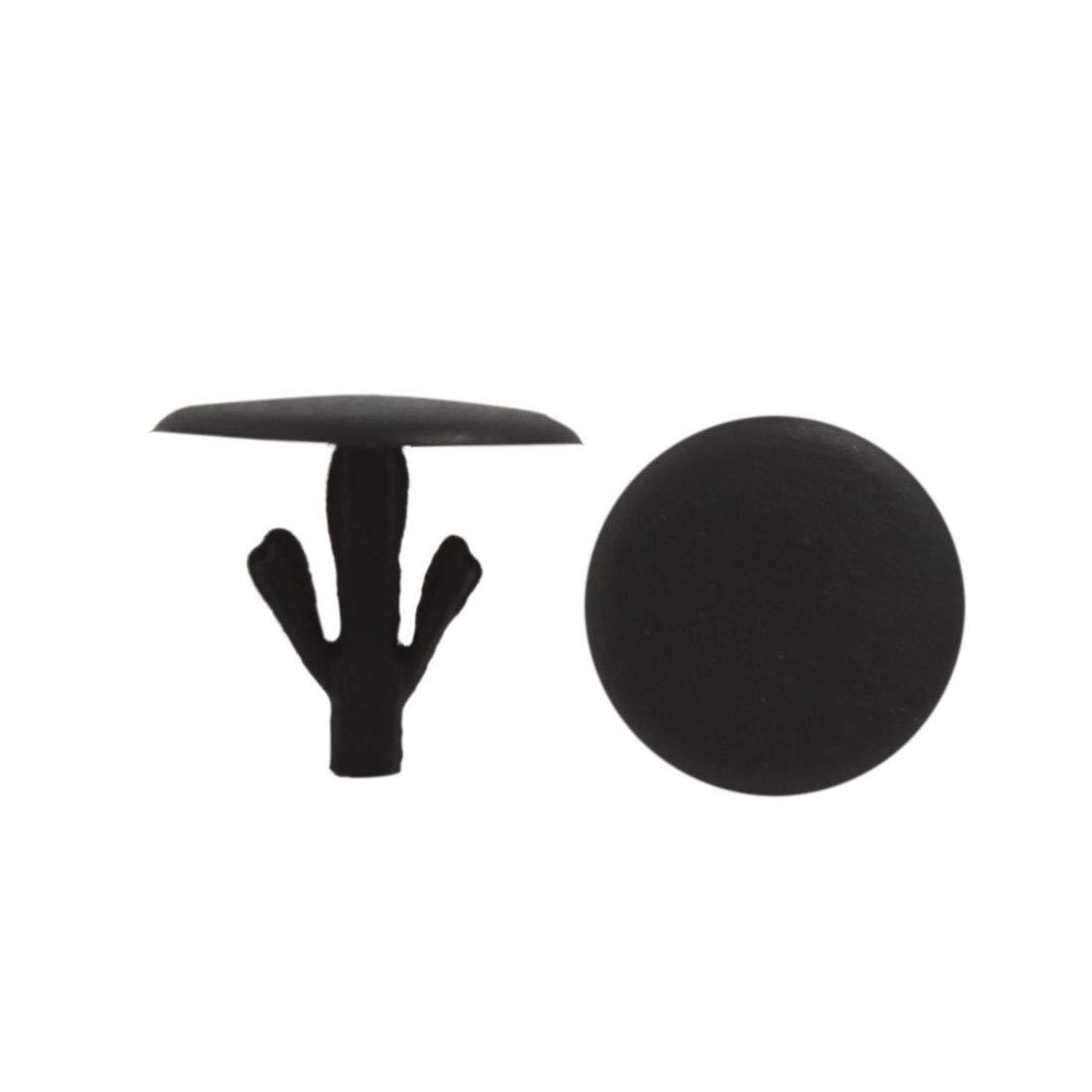 sourcing map Pc 100 Garniture Porte Plastique Capot-Moteur Agrafe Bouclier Moulage Noir 7mm pour Voiture