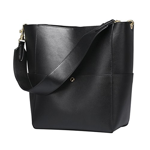 Leather Purse Tote Bag Handbag (S-ZONE Women's Fashion Vintage Leather Bucket Tote Shoulder Bag Handbag Purse (Black))