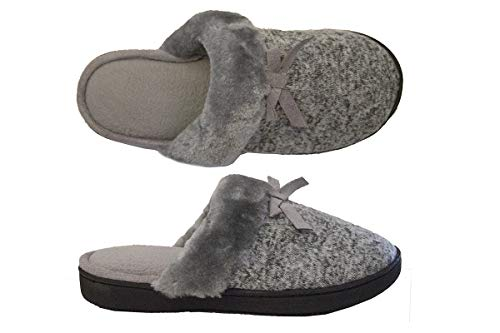 Clog Bow (Isotoner Women's Space Dyed Knit Tammy Clog with Bow Detail Closed Toe Slipper, Heather Grey 8.5-9)