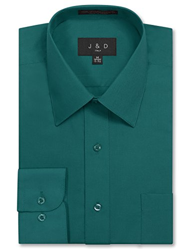 JD Apparel Mens Long Sleeve Regular Fit Solid Dress Shirt 17-17.5 N : 36-37 S Teal
