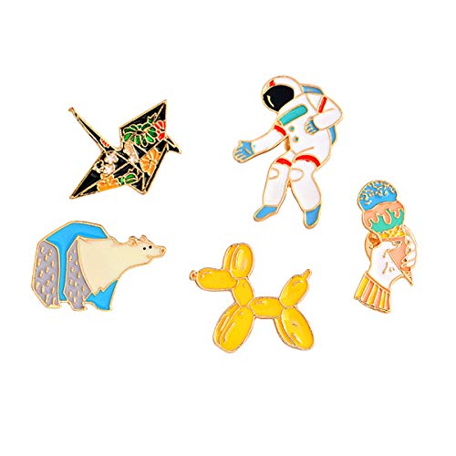 - WINZIK Lapel Pins Set Novelty Cute Cartoon Brooch Badges for Children Adults Clothes Backpacks Decor (Astronaut Ice Cream Set of 5)