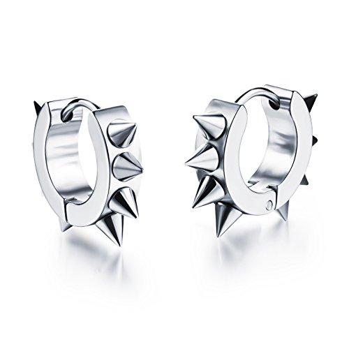 rrings Stainless Steel Rivets Awl Piercing Taper Huggie Hinged Earrings ()
