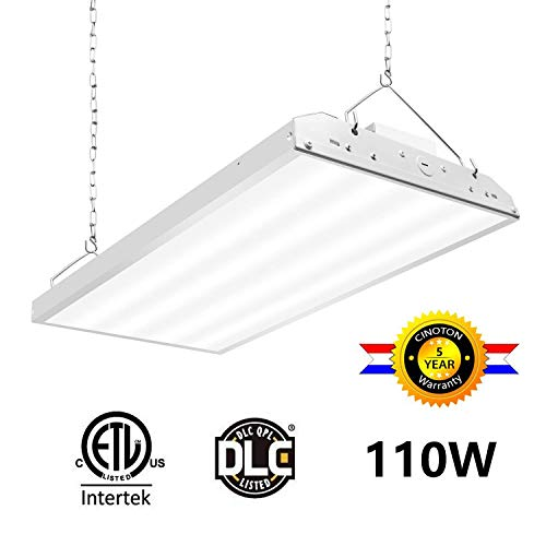 CINOTON 2FT Linear LED High Bay Light, LED Shop Light Fixture 110W 14300lm 1-10V dimmable 5000K [400W Fluorescent Equiv.] Motion Sensor Optional, Indoor Commercial Warehouse Area Light