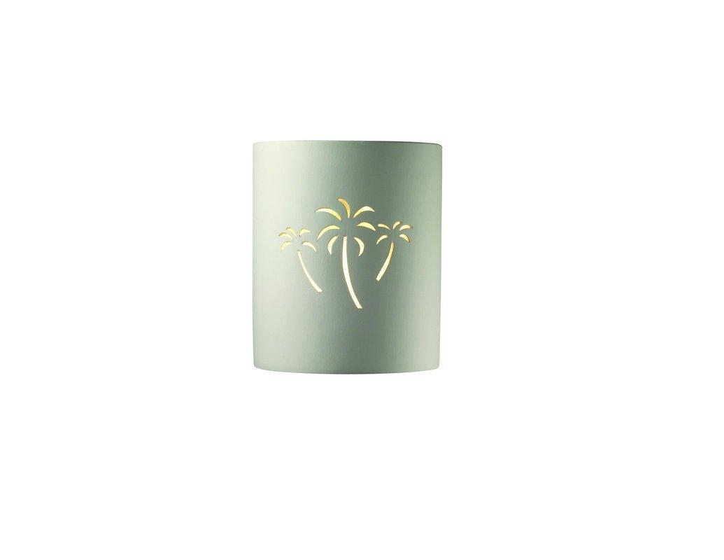 Justice Design CER-9010-BIS-PALM, Sun Dagger Ceramic Wall Sconce Lighting, 100 Watts, Bisque