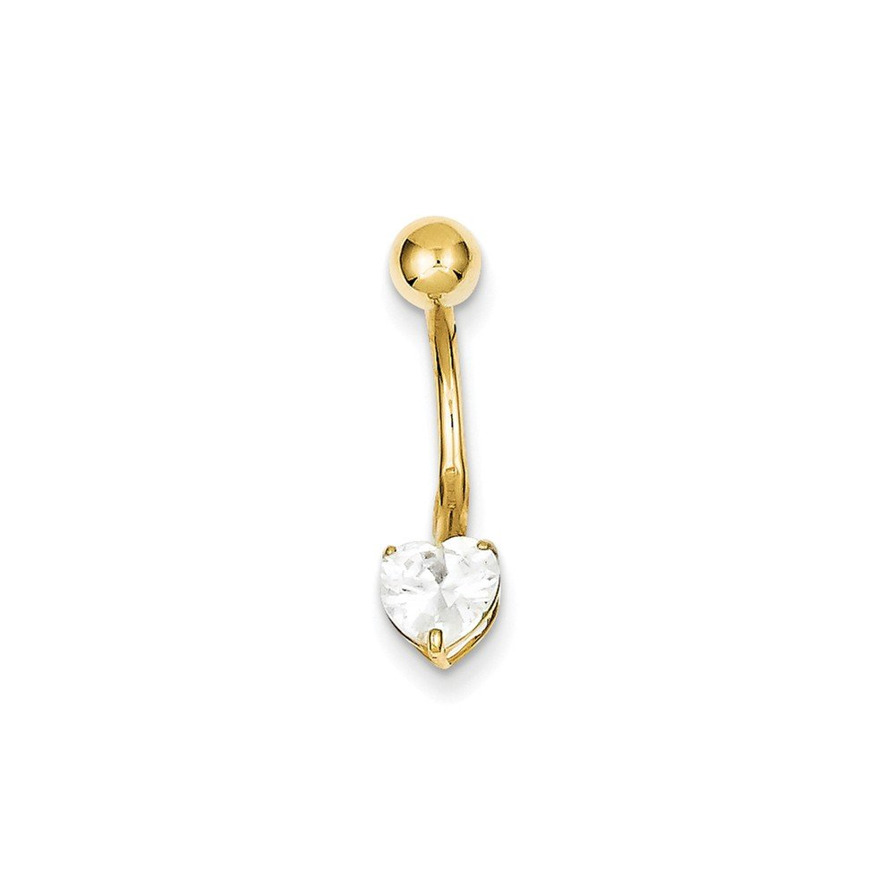 10k Yellow Gold With 6X6 Heart Belly Dangle by Nina's Jewelry Box