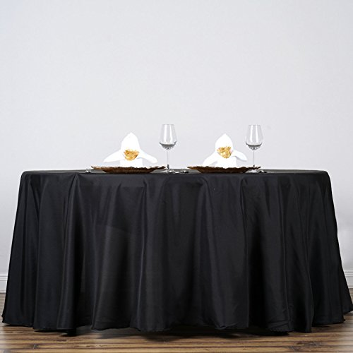 Efavormart 132 Wholesale Round Tablecloth Polyester Round Table Linens for Wedding Party Banquet Restaurant - Black
