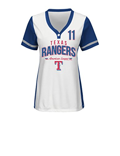 MLB Texas Rangers Women's Rugged Competitor Pull Over Color Block Name & Number Player Jersey, X-Giant, White/Deep Royal – DiZiSports Store