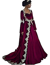 Womens Medieval Evening Dresses Formal Gown Long Sleeves 2 Piece with Train D251
