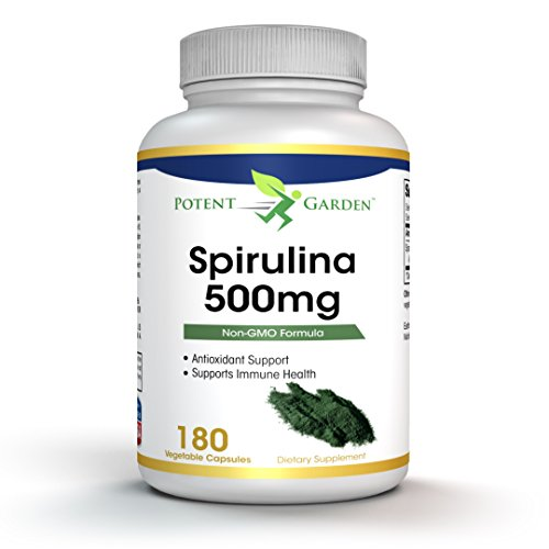 Spirulina Powder Capsules, Highest Quality Non GMO Spirulina Nutrition Superfood, 500mg per Capsule, 100% vegetarian & non-irradiated, 180 Capsules, Easy-to-Swallow by Potent Garden