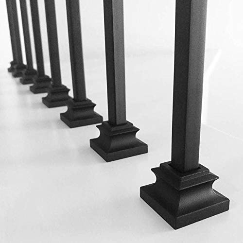 10-Pack with Set Screw for 1//2 Square Scroll Basket Knuckle Twist Stair Metal Balusters Stair Iron Baluster Flat Shoes Satin Black
