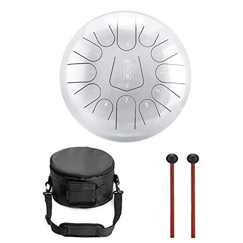Niome 12 Inch Steel Tongue Drum 13 Notes w/Travel Bag and Mallets,Tank Drum Chakra Drum,Percussion Hand Drum Instrument