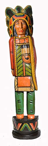 (5 Foot Tall Giant Hand Carved Wooden Cigar Indian Statue #HI Sculpture Carving Chief Cowboy Western Art)