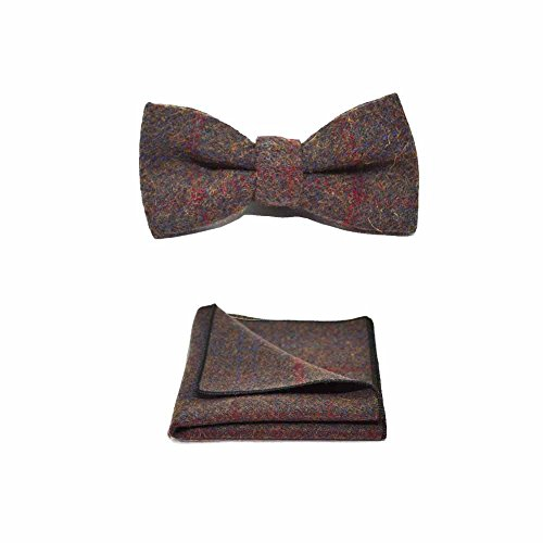 Set Brown Tie amp; Square Bow Plaid Country Heritage Earth Pocket Look Tweed Boxed Check pxq8nBR