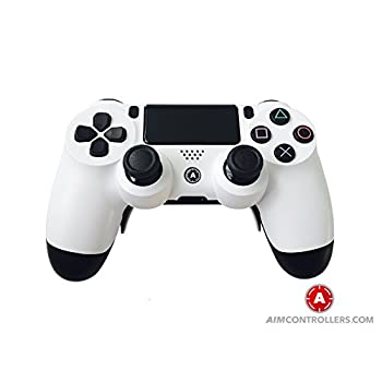 Image of Games PS4 Slim Wireless Controller for Playstation 4. AiMControllers White Design with 4 Paddles. Upper Left Square, Lower Left X, Upper Right Triangle, Lower Right O NO REMMAPING