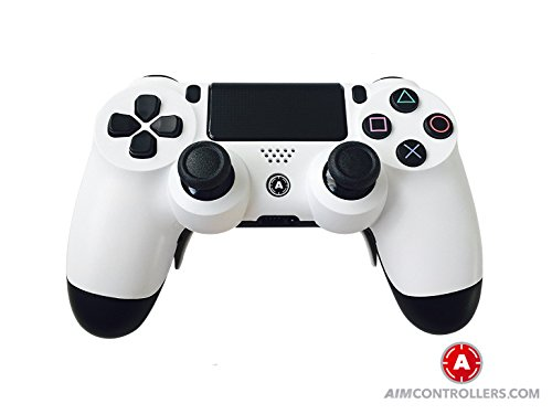 PS4 DualShock Custom Wireless Controller. AiMControllers White Design with 4 Paddles. Upper Left Square, Lower Left X, Upper Right Triangle, Lower Right O