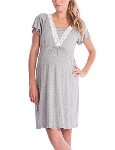 ZHENWEI Womens Maternity Dress Short Sleeve Nursing Nightgown for Breastfeeding Sleepwear