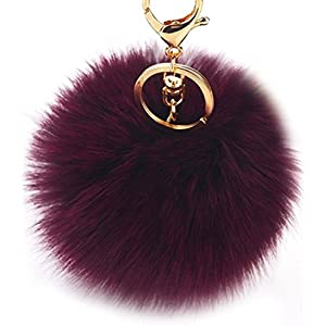 Peach Heart Leopard Keychain Pompon Fur Ball Lovely Pink Animal Hair Keyring Bag Key Car Handbag For Woman Lady Girl Gifts Elegant Appearance Key Chains