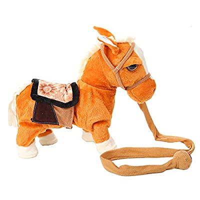 HEgh23ar 10inch Electric Plush Singing Walking Horse Pony Simulated Intelligent Plush Toys,Kids Toy Light Brown: Kitchen & Dining