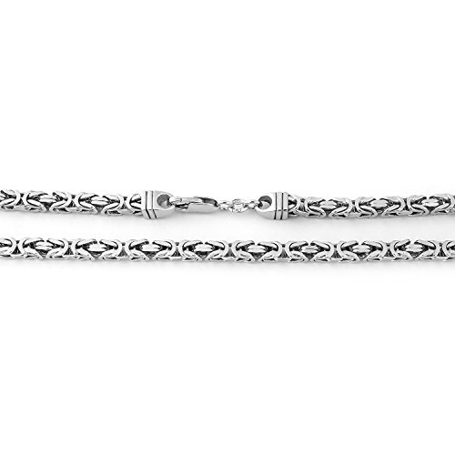 Men's Solid Sterling Silver Rhodium Plated 4.5mm Square Byzantine Heavy Chain Necklace, (Sterling Silver Square Byzantine Necklace)