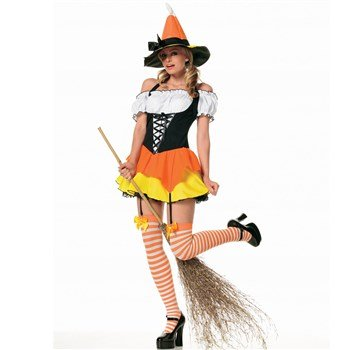 Leg Ave Women's Kandy Korn Witch Costume, Orange/Yellow, Medium]()