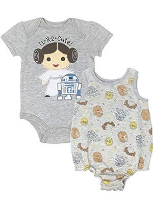 Star Wars Princess Leia Infant Baby Girls Bodysuit & Sleeveless Romper Set