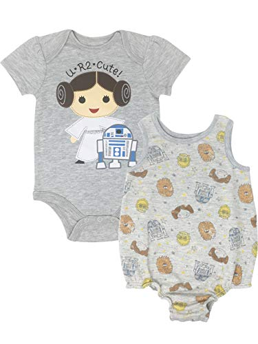 Star Wars Princess Leia Infant Baby Girls Bodysuit & Sleeveless Romper Set 6-9M Grey -