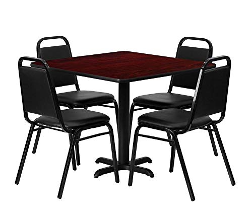 - Wood & Style Office Home Furniture Premium 36'' Square Mahogany Laminate Table Set with 4 Black Trapezoidal Back Banquet Chairs