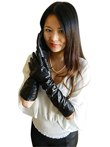 Fownes Women's Silk Lined Black Metisse Lambskin Leather Elbow Length Gloves 7.5/L