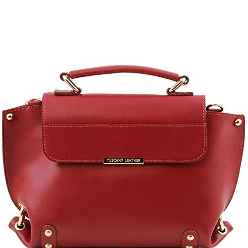 Tuscany Leather - TL Bag - Sac à main en cuir Ruga et bandoulière amovible - Rouge