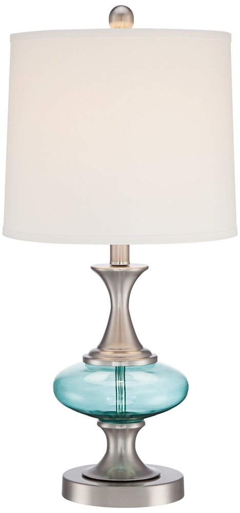 "Reiner Brushed Steel and Blue-Green Glass Table Lamp - Overall: 23"" high. Shade is 11"" across the top x 12"" across the bottom x 10"" on the slant. Uses one maximum 100 watt standard base bulb (not included). On-off socket switch. Metal and glass construction. Brushed steel and blue-green finish. - lamps, bedroom-decor, bedroom - 41zR9WXWKGL -"